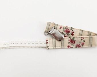 Attache à suce à rayures et fleurs - Stripes and flowers pacifer clip