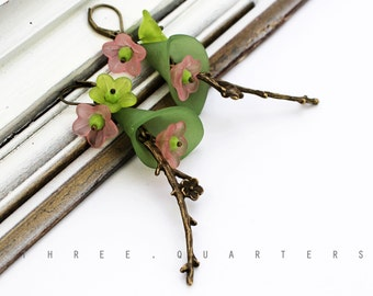 Earrings, flowers, green, pink, cherry blossoms, Japan, lime green, antique, bronze, japanese, romantic, flowers, light green, wedding, cute