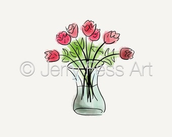 Red Rose Bouquet in a Vase