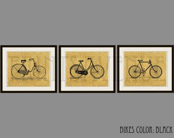 Bike Art Prints Bicycle Wall Art Bike Wall Decor Trio Art