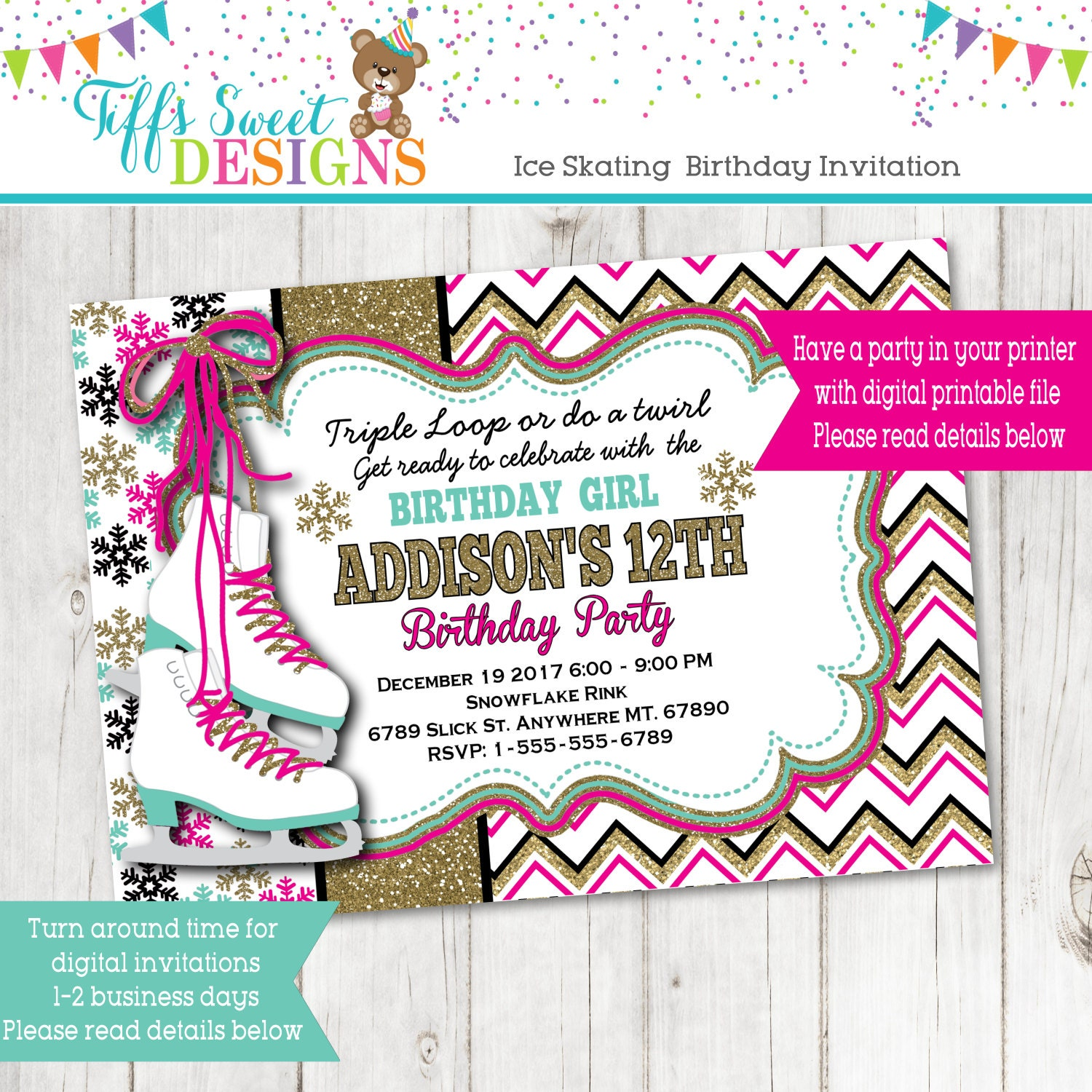 Ice Skating Birthday Party Invitation Ice Skate Party Gold