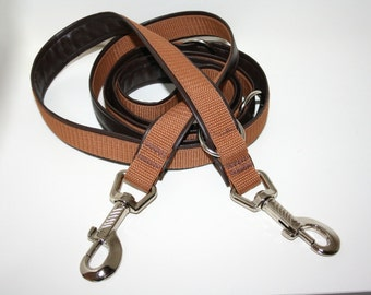 Dog leash adjustable upholstered with artificial leather 2 m Brown dark brown