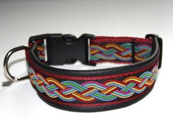 """Buckle dog collar leather """"Keltic"""" black bordeaux dog collar"""