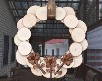 Rustic springtime wood slice wreath