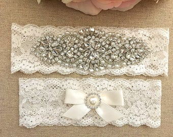 Rhinestone Wedding Garter - Lace Garter Set - Pearl Garter - Toss Garter - Bridal Garter - Wedding Garter Belt - Keepsake Garter
