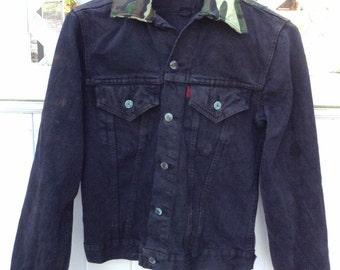 Black Levi Jean Jacket - Camouflage Jean Jacket - Men's Small Jean Jacket - Two Pocket Levi Jacket - Decorated Jean Jacket- Christmas Gift