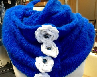 Hand Knitted and Crochet Royal blue Scarf,White flowers,infinity scarf,blanket scarf,oversized scarf,My Peruvian Treasures,Hand made in Peru