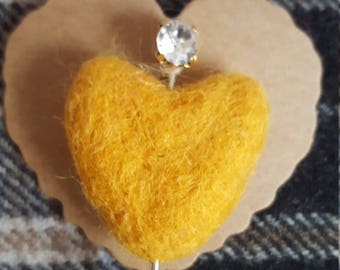 Felted mixed wool heart with decorative pin