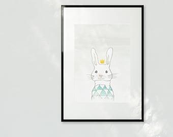 Happy Bunny - A3 sparkling Art print