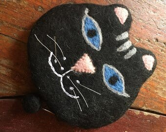 Fairtrade Felt Cat Purse - Black