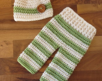 Crocheted Baby Boy Pants and Hat with Wooden Button Set ~ Cream & Sweet Pea Green ~ Shower Gift ~ Newborn Size (0 - 2 Month) ~ MADE TO ORDER