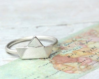Ship Ahoy ring 925 silver, maritime jewelery, boat ring wire ring