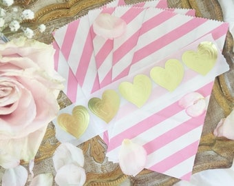 10 Shabby Chic Baby Shower Favor Bags, Pink Favor Bags, Pink and Gold Wedding Ideas, DIY Wedding Favors, Shabby Chic Weddings