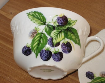 SALE! Philippe Deshoulieres Cup & Saucer, Limoges, Porcelain, Vintage c1993, France, Teacup and Saucer, Berries, Fruit, Embossed, Dinnerware