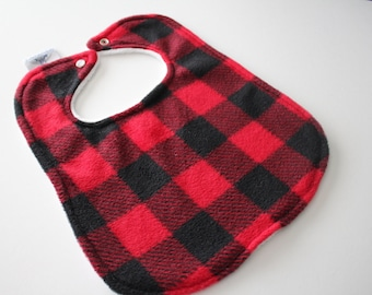 Flannel Buffalo Check with Chenille Back Bib - Plaid - Snap Closure, Baby Gift, Feeding, Nursing, Baby Shower, Red and Black