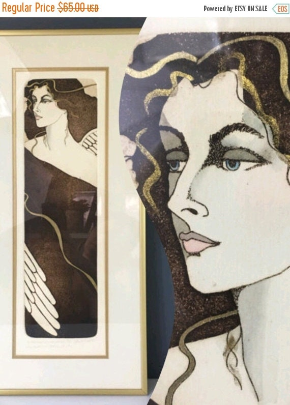 ON SALE Art Print by Marie Dawn, Framed Lithograph Sepia and Gold Hand Colored Print, Art Nouveau Style Woman Angel