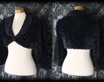 Gothic Black Faux Fur MAYHEM Cropped Shrug Jacket Bolero 10 12 Victorian Vintage