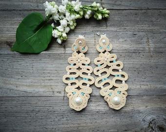 Beige and blue- Large and spectacular earrings soutache, orecchini soutache, Boucles d'oreilles soutache,