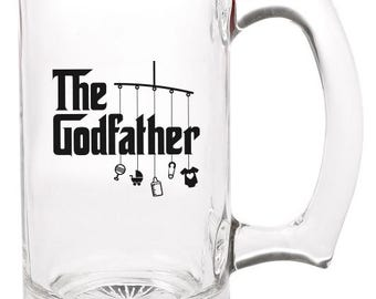 the godfather beer mug   |   double-sided logo   |   12 ounce   |   diswasher safe