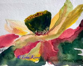 Red & Green Lotus Asian Brush Painting on Rice Paper hand made card printed on linen paper.