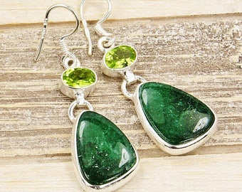 Forest Queen Moss Agate Peridot Earrings Brushed Silver & Sterling Silver Earrings , AF154 The Siver Plaza