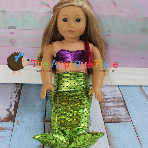 Doll clothing pattern in the hoop ith mermaid outfit for