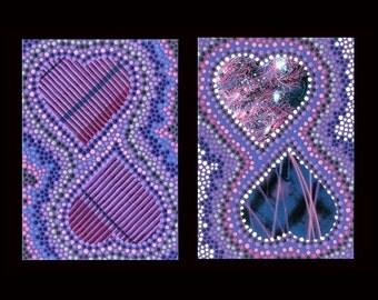 Pair of Heart Greeting Cards, Original Art, Blank Inside