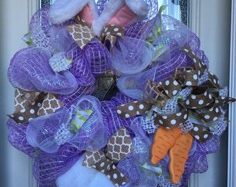 Easter wreath, easter bunny wreath, bunny door hanger, easter decor