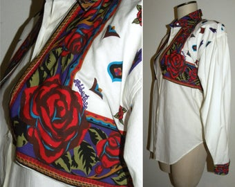 1990s 90s Rodeo Blouse / ADOBE Rose / Cowgirl shirt / Bold / Avant Garde / Vintage / south west  / New wave / 1992
