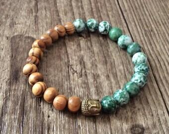 Moss Agate and Buddha Head Bracelet - Gemstone Bracelet - Bead Bracelet -Green bracelet