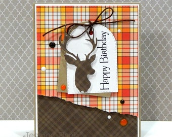 Happy Birthday...Manly Deer Handmade Card ~Greeting Card Masculine