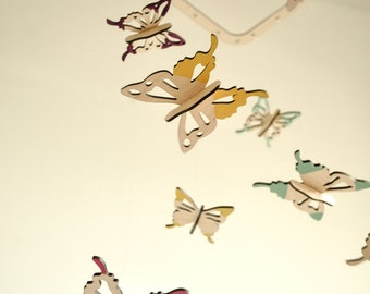 Butterfly mobile - wooden mobile - nursery mobile