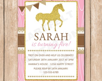 Horse Birthday Party Invitation | Equestrian, Shabby Chic - 1.00 each printed or 12.00 DIY file