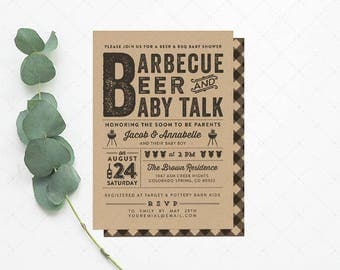 BBQ Beer U0026 Baby Shower Invitation Card   DIY Printable Digital Party File    Barbecue Party