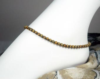 "Brown Seed Bead Anklet - Beaded Ankle Bracelet - Seed Bead Bracelet - Antique Gold - Girls Size - Plus Size - 7"", 8"", 9"", 10"", 11"", 12"", 13"""