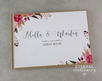 "Rustic Wedding Guest book, Hardcover - ""Abella"""