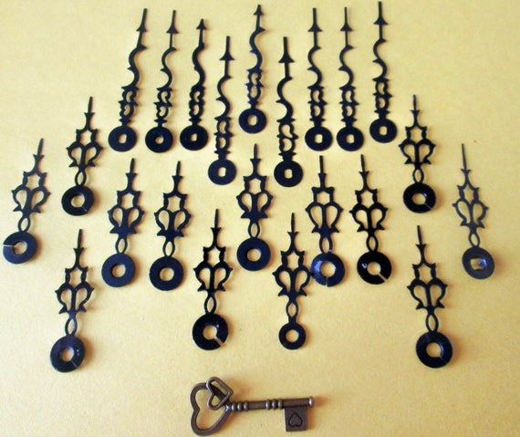 22 Assorted Vintage Steel Serpentine / Gothic Design Clock Hands for your Clock Projects,  Jewelry, Steampunk Art  Etc...
