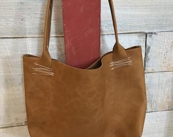 Genuine leather tote bag. Handbag. Shoulder bag. Leather purse.