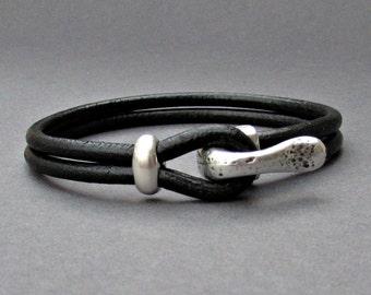Silver Hook Mens Bracelet, Leather Bracelet, Antique Silver Plated, Rustic Mens Bracelet Customized On Your Wrist