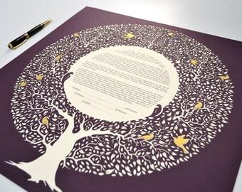 Custom Handmade Tree Ketubah with PaperCut Home Wall Art Modern Tree with golden leaves and birds Ketubah Wedding Vow Minimalist ketubah