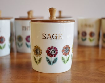 8 Nasco Fascination Spice Jars, Vintage 1950s Mod Flowers Porcelain Wood Lid Spice Jar Set, Mid Century Japan Spice Shakers, Gift for Chef