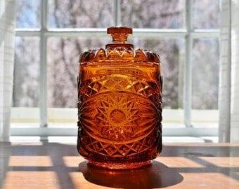 Amber Glass Lidded Jar, Imperial Glass Hobstar Pressed Glass Jar, Amber Glass Kitchen Barware Vanity Candy Jar, Humidor Cigarillo Jar