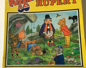 Sale Vintage Puzzle, Rupert Puzzle, Jig-Saw Puzzle, 80 Piece Puzzle, Children's Puzzle