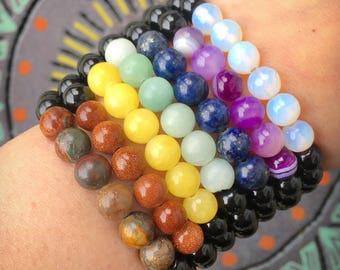Chakra Gemstone Healing Bracelet // Choose Chakra Stone //Choose Gemstone // Crystal Healing Bracelet Stack