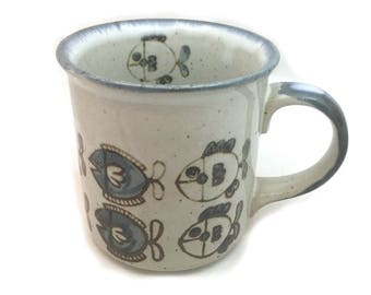 Blue and White Fish Mug, School of Fish Cup, Vintage Stoneware Mugs, Otagiri Style Japanese Stoneware Mug, Retro Mug