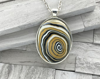 Yellow and black polymer clay pendant | Large oval swirl pendant