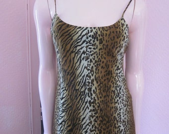 JOSEPH RIBKOFF Animal Print Slip Dress, Size 4