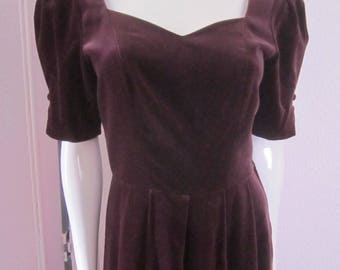 LAURA ASHLEY Aubergine Velvet Mid-Length Dress, Size 8