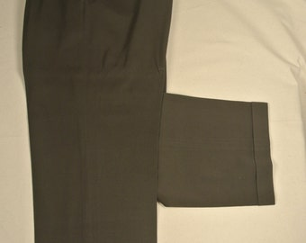 Polo Ralph Lauren Solid Dark Green 100% Worsted Wool Dress Pleat Trousers Men's Size: 36x29