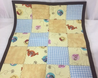 Baby Security Blanket Disney Winnie The Pooh Inspired Soft Flannel & Minky 17x21 ~ Baby Room ~ Baby Shower Gift ~ Diaper Pad ~Girl or Boy